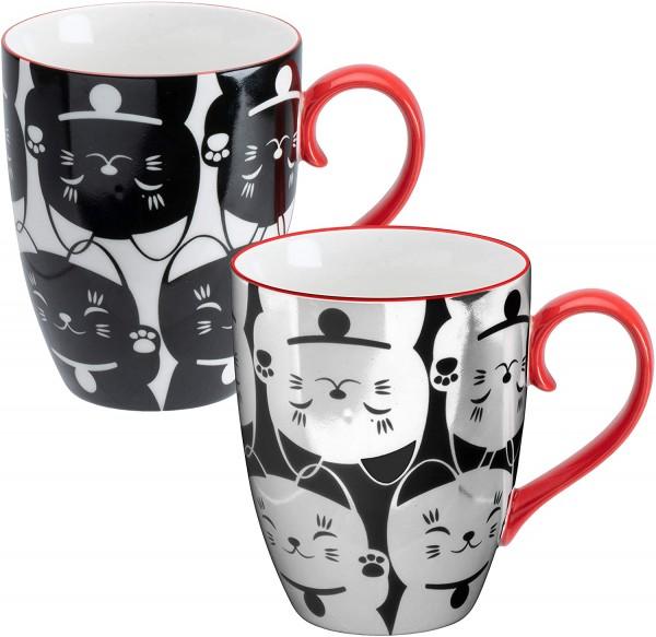"""""""japanische Glückskatzen schwarz-weiß/rot"""" TOKYO design studio Kawaii 2-er Tassen-Set 380 ml"""