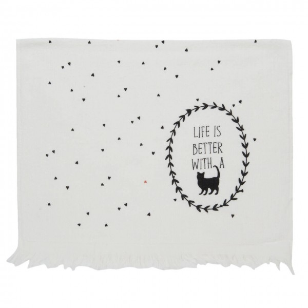 """Clayre & Eef Handtuch Gästehandtuch """"Life is better with a cat"""" 40 x 60 cm"""