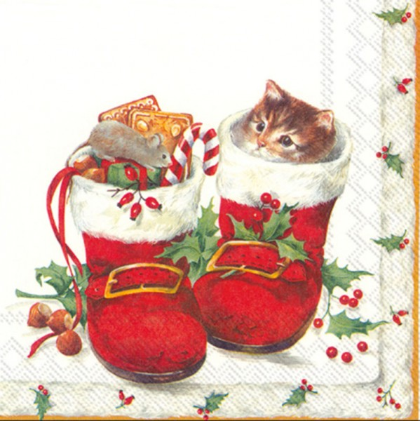 """""""Sweet Christmas Boots"""" IHR Lunch Servietten 33 x 33 cm"""