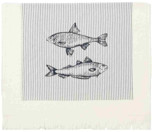 "Clayre & Eef Handtuch Gästehandtuch ""Boat & Fish"" 40 x 60 cm"