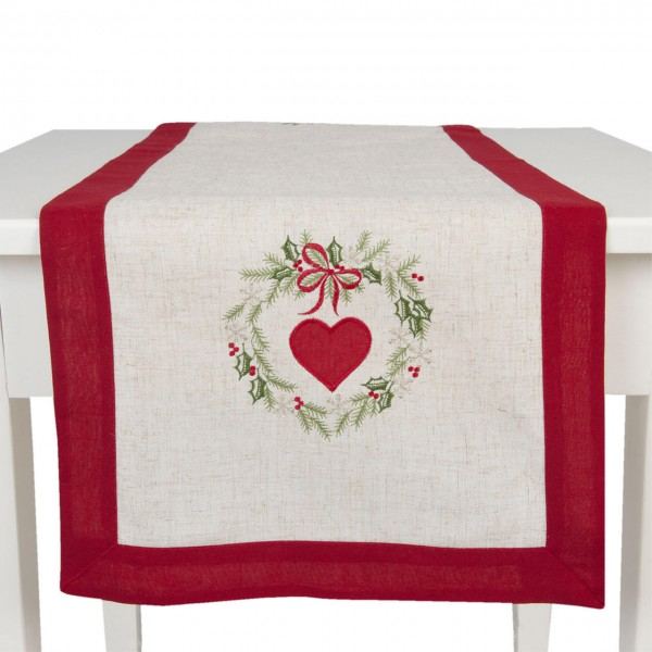 """Clayre & Eef Tischläufer """"Christmas Hearts"""" 40 x 120 cm"""