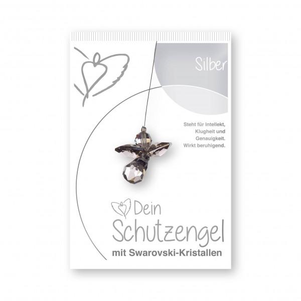 """""""Silber"""" Schutzengel mit echten Swarovski-Kristallen"""
